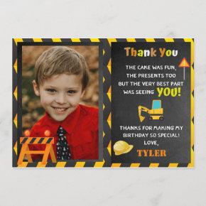 Construction Birthday Party Photo Thank You Invitation