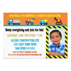 Construction Boys Birthday Invitations - Any Age