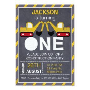 Construction Chalkboard 1st Birthday Invitations