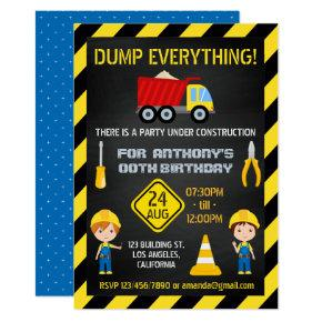 Construction Chalkboard Birthday Party any age Card
