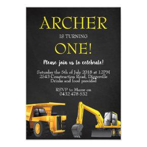 Construction Digger Boy Birthday Invite Invitation
