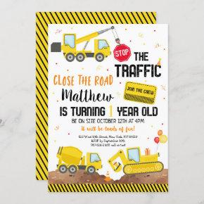 Construction Dump Truck Digger First Birthday Invitation