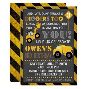 Construction Invitation Boy Birthday Party
