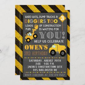 Construction Invitation Boy Birthday Party