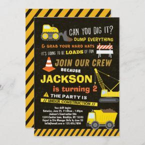 Construction Party Boys Dump Truck 2nd Birthday Invitation