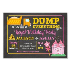 Construction & Princess Joint Birthday Invitation