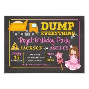 Construction & Princess Joint Birthday Invitation