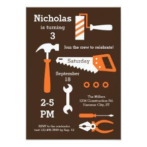 Construction Tools Birthday Invitation
