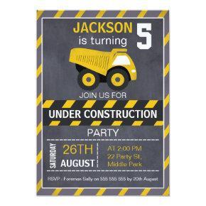 Construction Truck Chalkboard Birthday Invitation