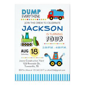 Construction Trucks Birthday Party Invitations