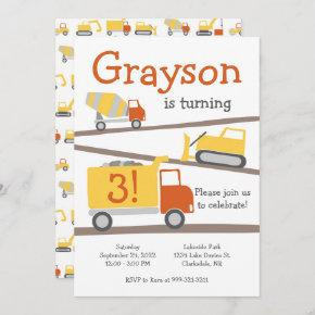 Construction Trucks Birthday Party Invitation