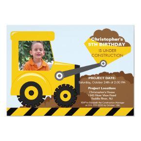 Construction trucks Photo Birthday Party for boys Invitations