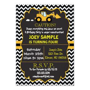 Contruction Bull Dozer  Birthday Invitation