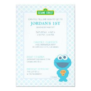 Cookie Monster Baby Birthday Invitations