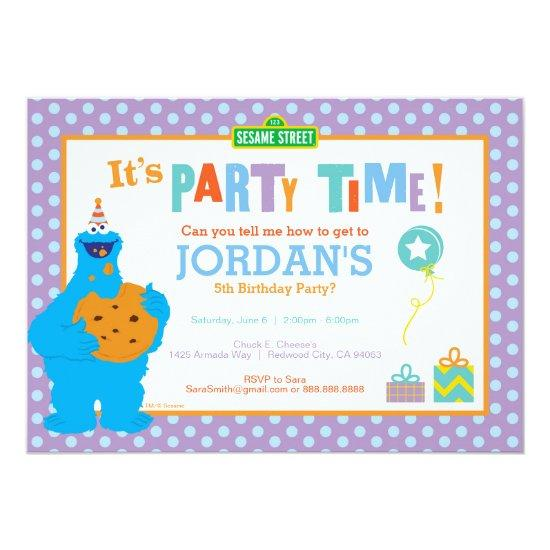 Cookie Monster Birthday Card Candied Clouds