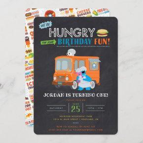 Cookie Monster Chalkboard Food Truck Birthday Invi Invitation