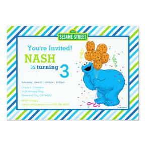 Cookie Monster Striped Birthday Invitation