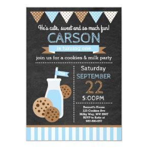 Cookies and Milk Birthday Invitations