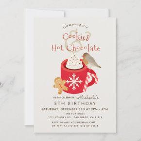 Cookies & Hot Chocolate Red Birthday Invitation
