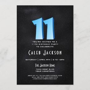 Cool 3D on Black 11th Birthday Party Invitation