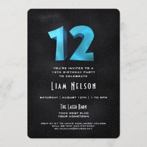 Cool 3D on Black 12th Birthday Party Invitation