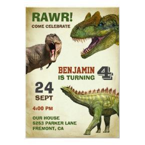 Cool Big Dinosaur Kids Birthday Party Invitation
