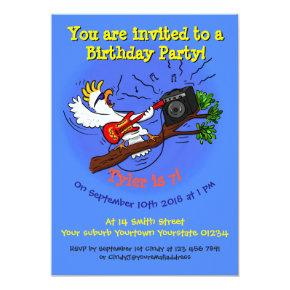 Cool bird guitar cartoon 7 years birthday invite