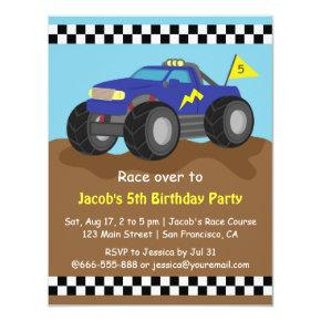 Cool Blue Monster Truck Birthday Party Invitations
