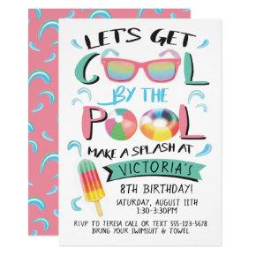 Cool by the Pool Birthday Party Invitations