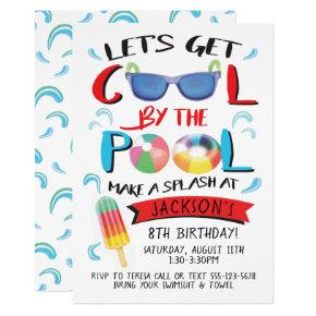Cool by the Pool Boy Birthday Party Invitations