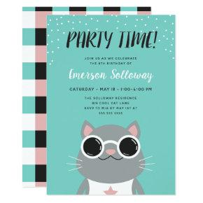Cool Cat Turquoise Kids Birthday Party Invitation