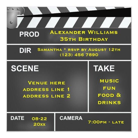 Cool Clapper Board 35th Birthday Invitations