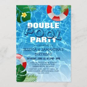 Cool Double Pool Party | Joint Birthday Party Invitation