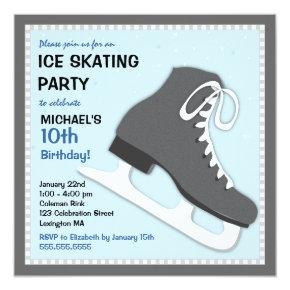 Cool Dudes Ice Skating Birthday Party Invitation
