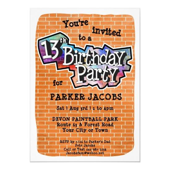 cool graffiti art 13th birthday party invitations candied clouds