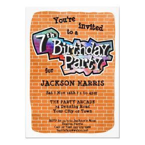 Cool Graffiti Art 7th Birthday Party Invitations