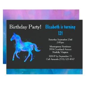 Cool Horse in Blue and Purple Watercolors Birthday Invitations