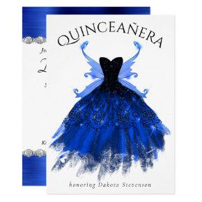 Cool Ice Princess Blue Fairy Gown | Quinceanera Invitation