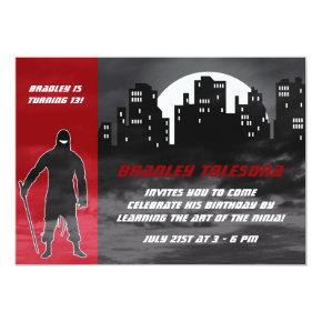Cool Ninja in the City Birthday Invitation