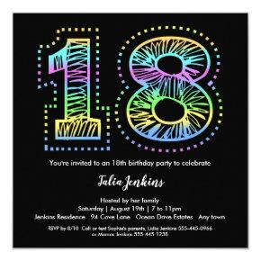 Cool on Black 18th Birthday Party Invitations