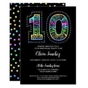 Cool on Black Fun 10th Birthday Party Invitation