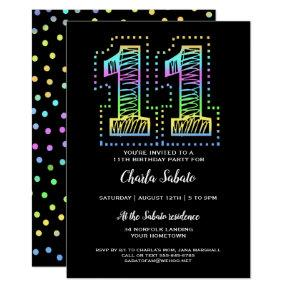 Cool on Black Fun 11th Birthday Party Invitation