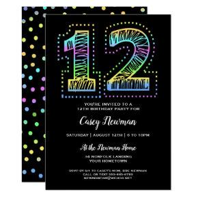 Cool on Black Fun 12th Birthday Party Invitation