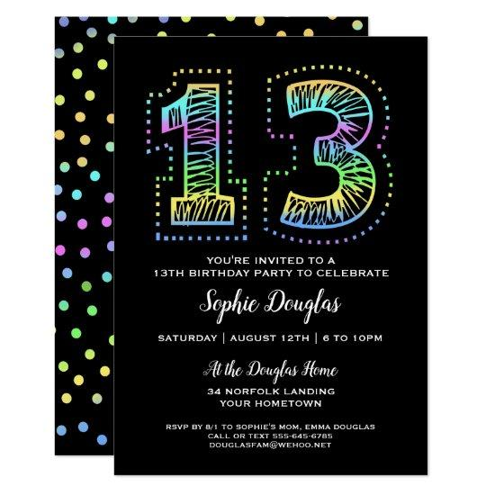 Cool On Black Fun 13th Birthday Party Invitation Candied Clouds