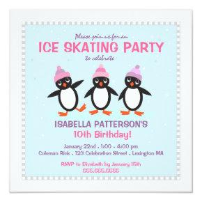 Cool Penguin Ice Skating Birthday Party Invitations