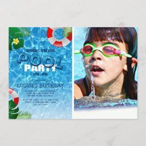 Cool Pool Party Photo | Swimming Birthday Invitation