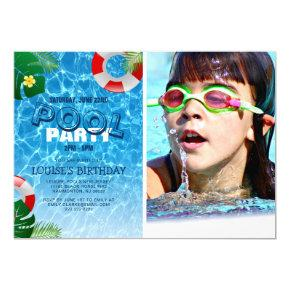 Cool Pool Party Photo | Swimming Birthday Invitation