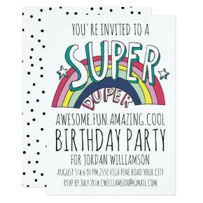 Cool Pop Art Rainbow Any Age Birthday Invitation