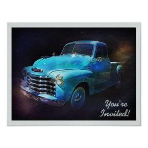 Cool Retro Truck Birthday or Retirement Party Invitation