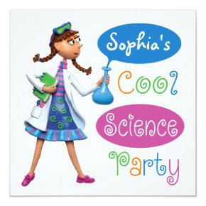 Cool Science Birthday Party for Girls Invitations
